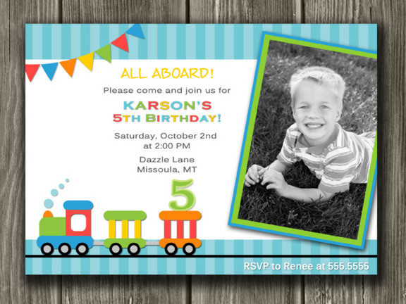 Printable Train Birthday Photo Invitation Boys Birthday