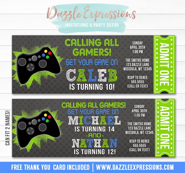 Printable Video Game Ticket Birthday Invitation Boys