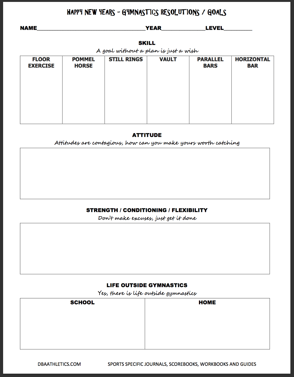 Baseball Goals Worksheet