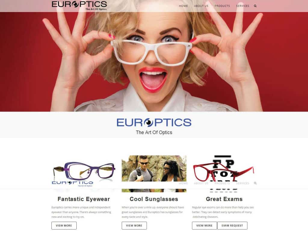 Europtics website by dba designs & communications - Denver, CO