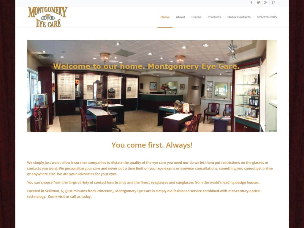 Montgomery Eyecare website by dba designs & communications - Denver, CO