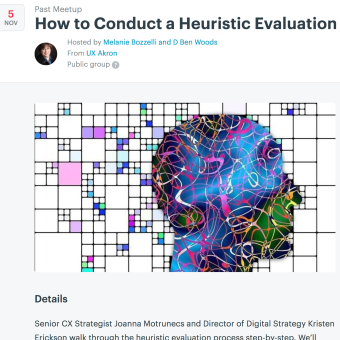 UXAkron Event: November 5, How to conduct a Heuristic Evaluation