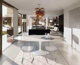 Marble table, Eero Saarinen & Side chair Harry Bertoia (Knoll)