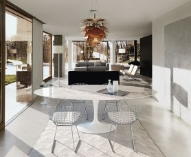 Marble table, Eero Saarinen & Side chair Harry Bertoia (Knoll)