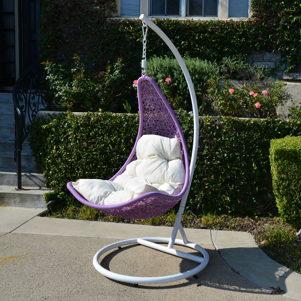 hammock chair stand white imaginarium table and 2 set lavender khaki egg shape wicker rattan swing lounge weaved