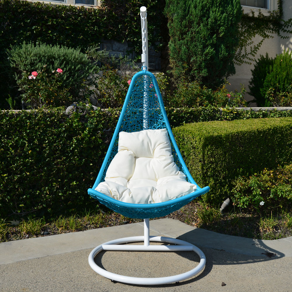 hammock chair with stand st tropez hanging white turquoise egg shape wicker rattan swing lounge weaved