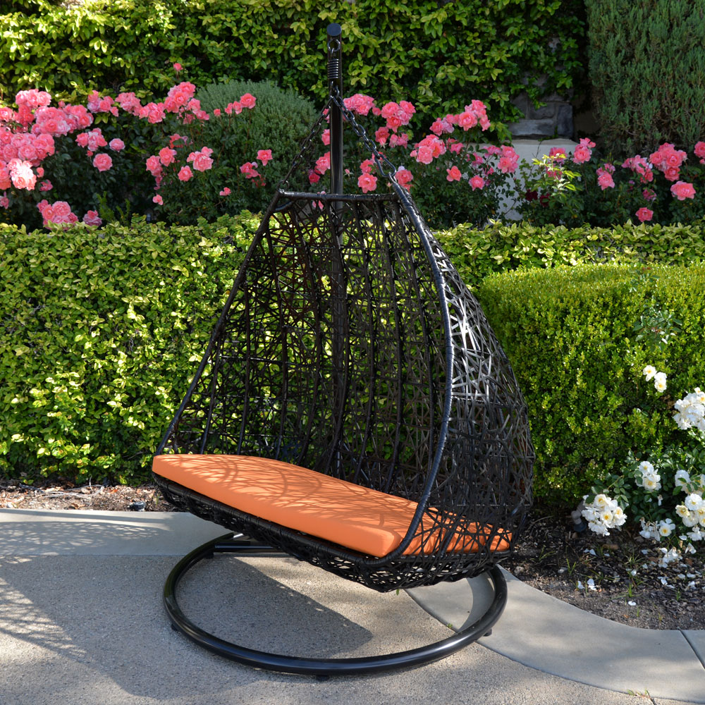 2 Person 418 lbs Cap Black Orange Egg Shape Wicker Rattan