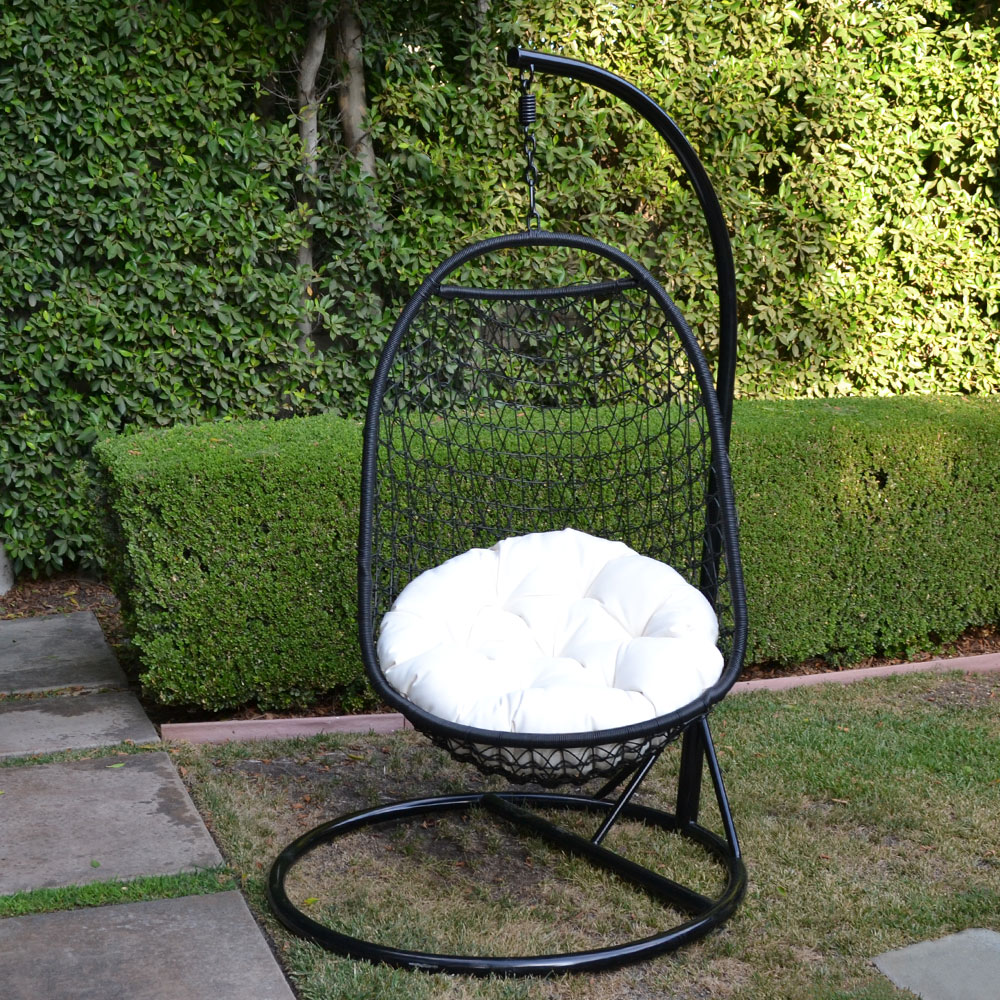 BLACK  Khaki Wicker Rattan Swing Chair Weaved Egg Shape