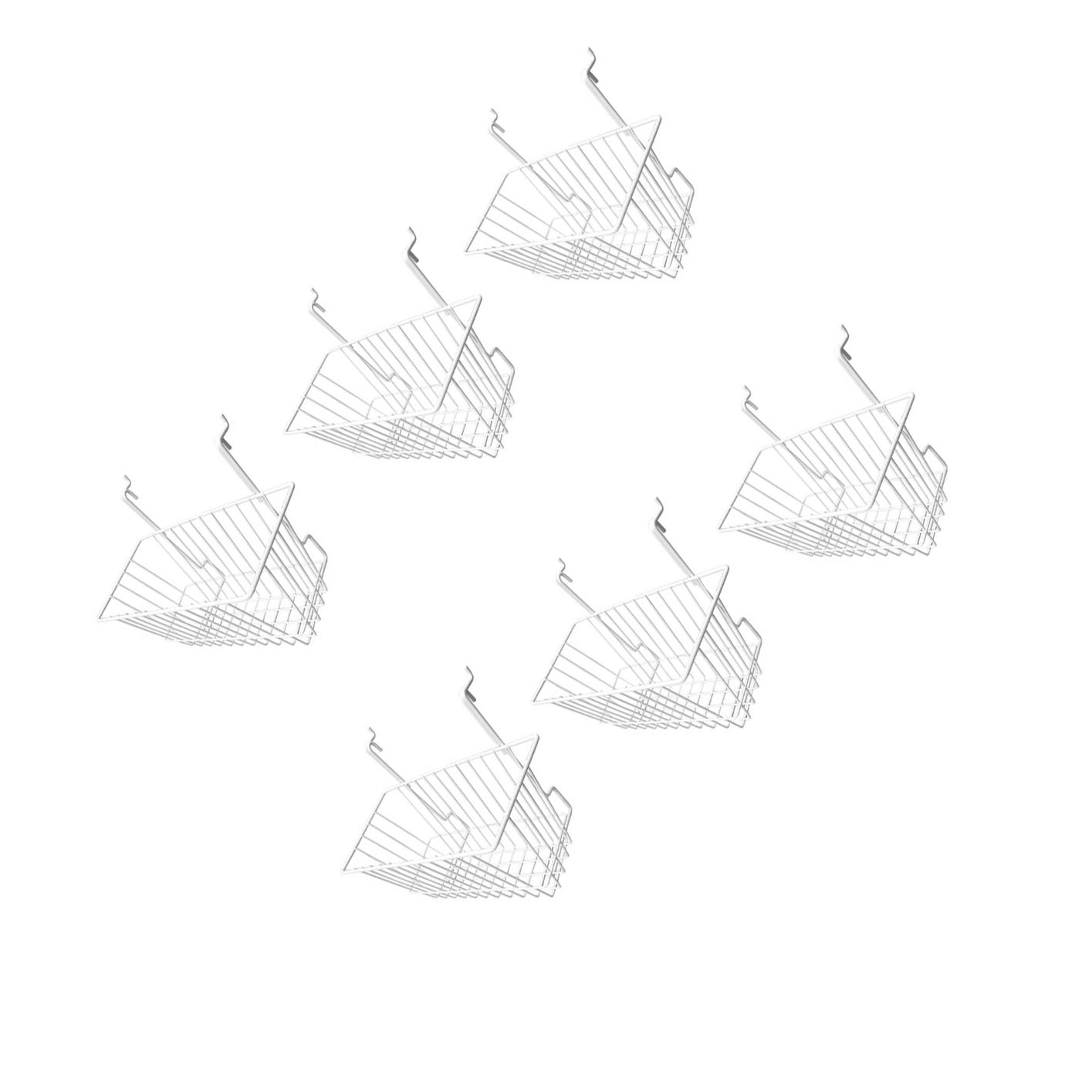 6pc 12 X 6 X 6 Narrow Deep Basket Display White Metal