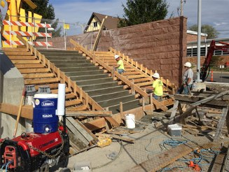 Exterior library stairs under construction