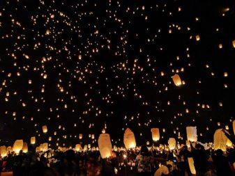 photo of floating lanterns