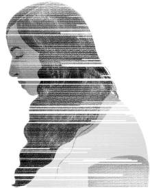 profile of woman in gray scale