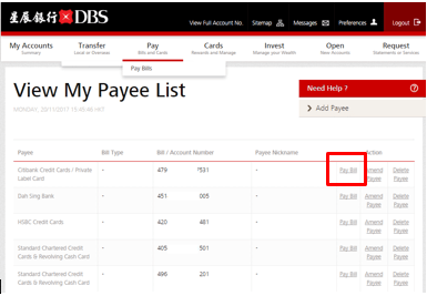 Help & Support   How to make bill payment through DBS iBanking   DBS Bank Hong Kong