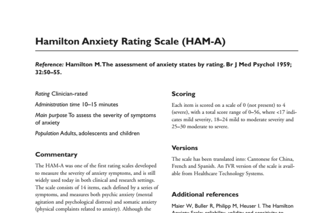 Hamilton Anxiety Rating Scale/Hamilton Anxiety Rating Scale (HAM-A)