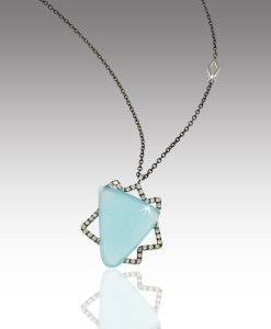 Chalcedony and Diamond Necklace