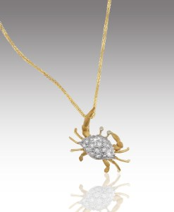Diamond Shell Crab Pendant