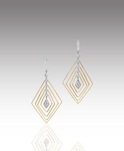 Wire Diamond Drop Earrings