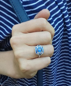 Sapphire and Diamond Stripes Ring
