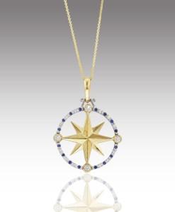 Diamond and Sapphire Compass Rose Pendant