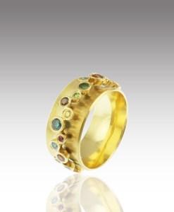 Orbit Rainbow Garland Diamond Spin Ring