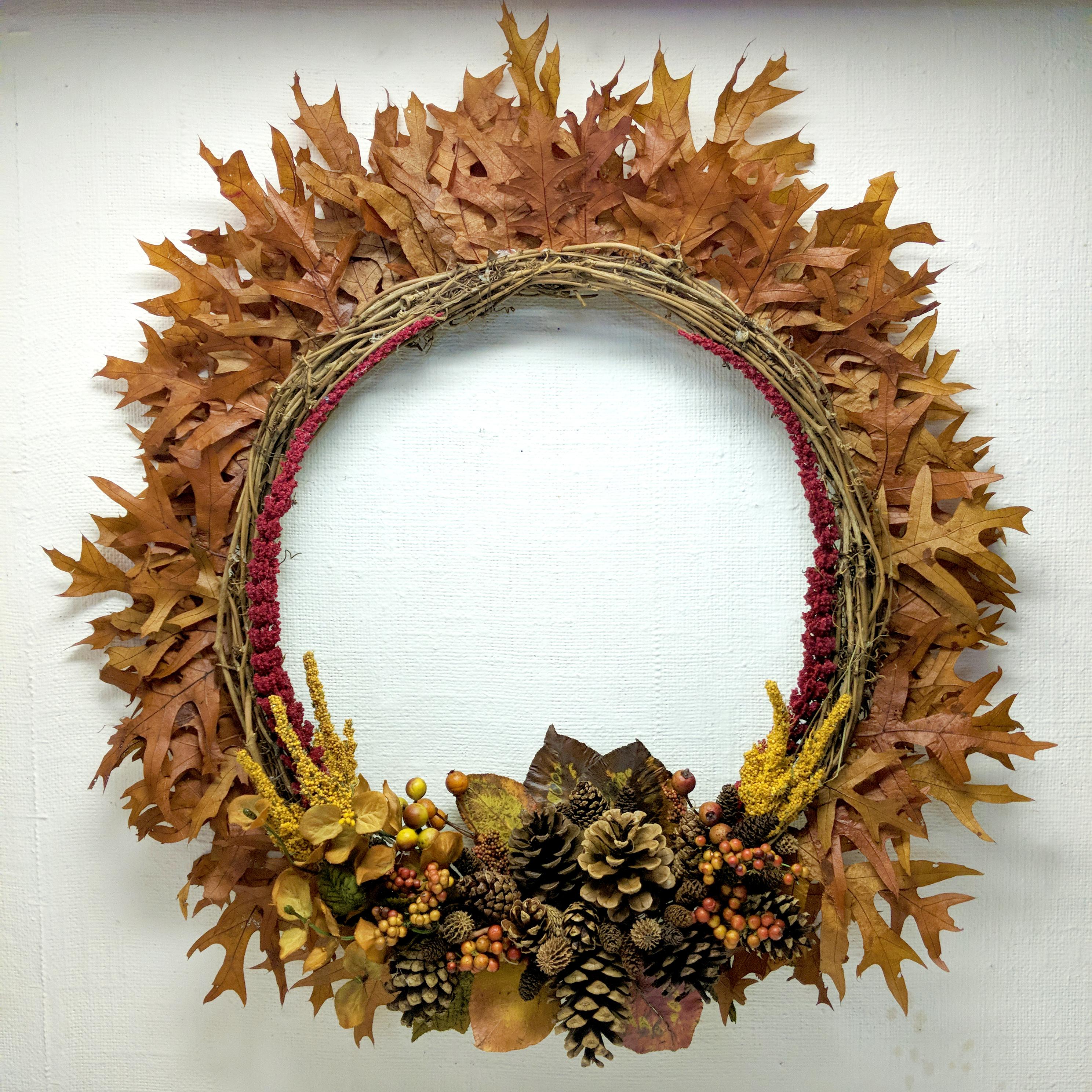 handmade autumn fall Thanksgiving wreath dbstevens