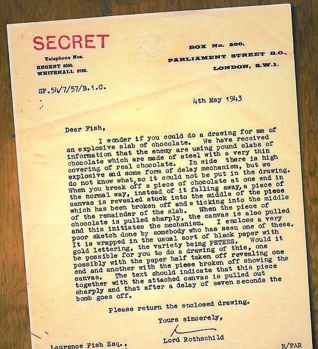 British agents foiled the plot and tipped off one of MI5's most senior intelligence chiefs, Lord Victor Rothschild. He typed a letter to a talented illustrator seconded to his unit asking him to draw poster-size images of the chocolate to warn the public to be on the look-out for the bars