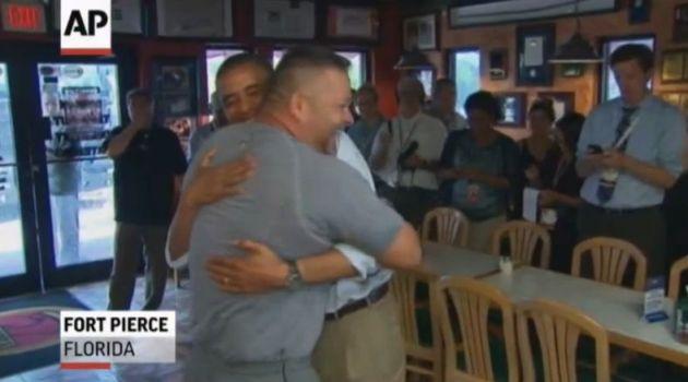 Florida Shop Owner Gives Obama Bear Hug