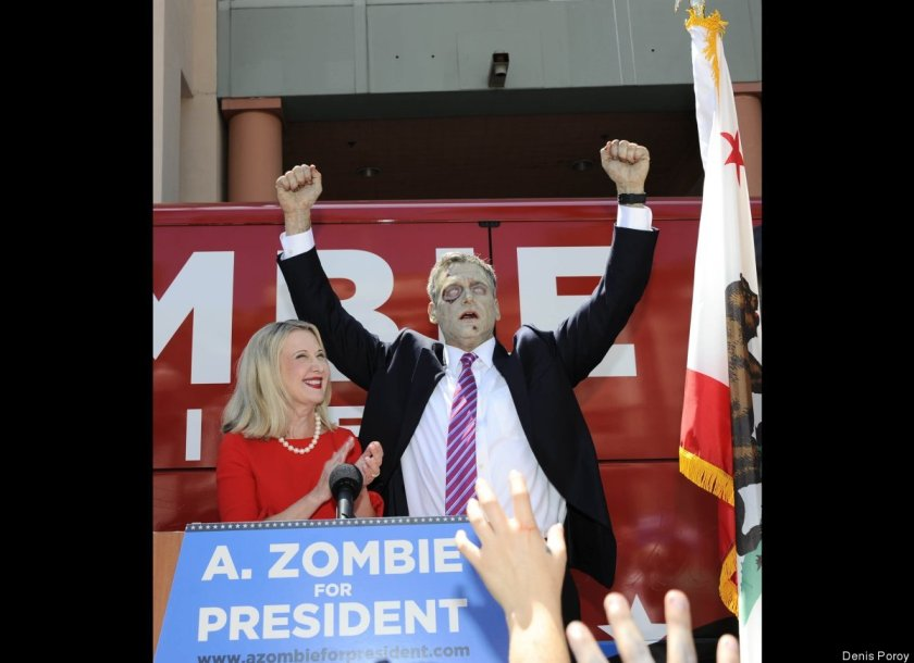 The campaign of Zombie, who is pictured with his wife, Patti Morgan-Zombie, is actually a publicity stunt concocted by AMC Networks to protest a contract dispute with Dish Network.