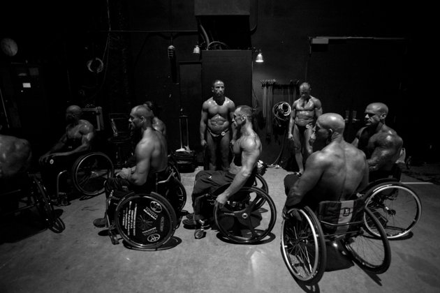 Wheelchair athletes wait their turn to take the stage at the wheelchair bodybuilding pro show in Houston. (Photo by Lauren Fleishman for TIME)