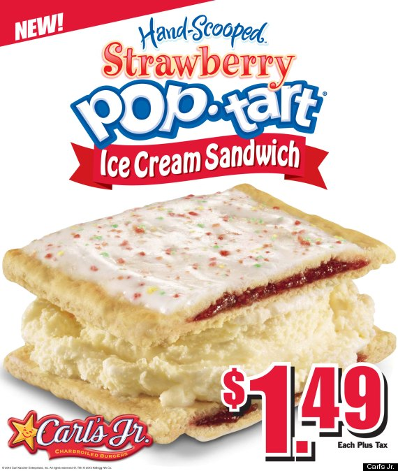 Gaze upon the glory that is the Pop-Tart ice cream sandwich, which is currently being tested by Carl's Jr. in at least one location in Newport Beach, Calif.