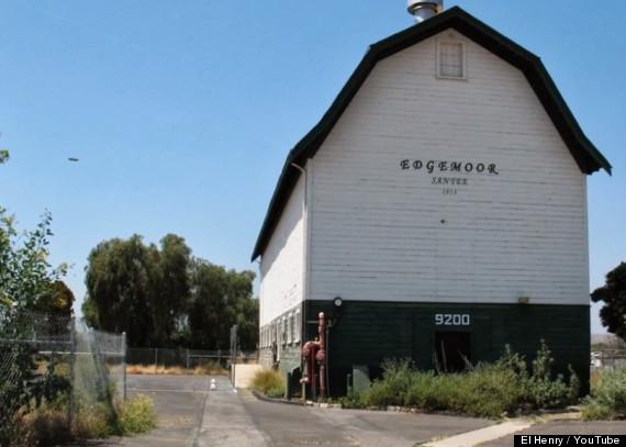 UFO over historic barn