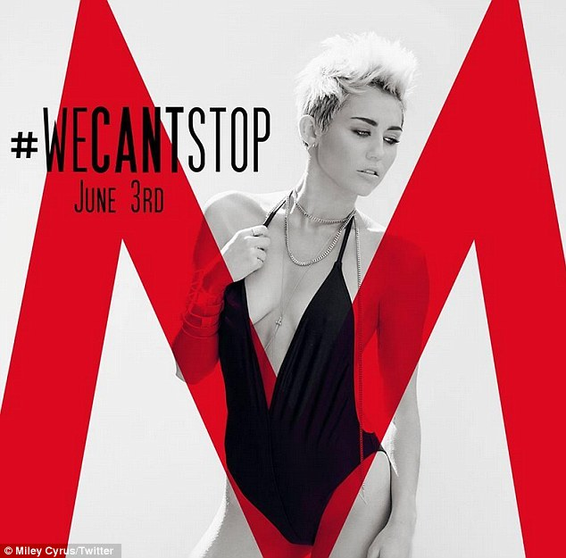 Miley Cyrus left little to the imagination in a barely-there black monokini in the cover art for her new single We Can't Stop