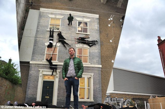 Mirrored house illusion in Hackney street 2