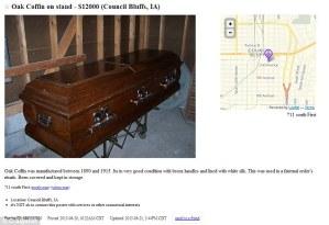 Sale of coffin, skeleton found inside: For Sale On Craiglist
