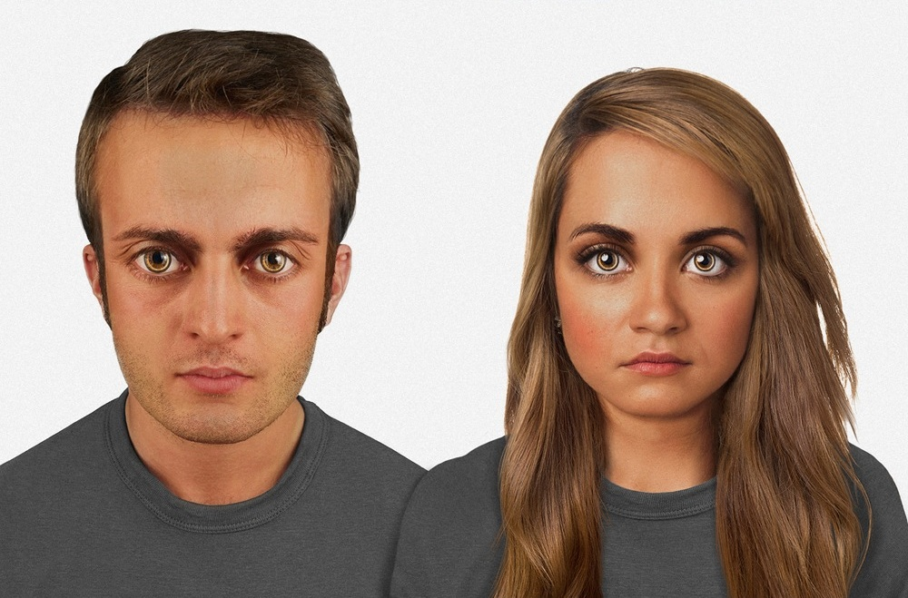 In 60,000 years: Human beings have even larger heads, larger eyes and pigmented skin. A pronounced superciliary arch makes for a darker area below eyebrows. Miniature bone-conduction devices may be implanted above the ear now to work with communications lenses. Image credit: Nickolay Lamm