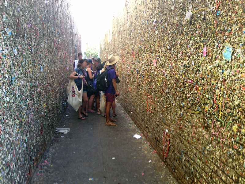 "Bubblegum Alley is a local tourist landmark in downtown San Luis Obispo, California, known for its accumulation of used bubble gum on the walls of an alley.[1] It is a 15-foot (4.6 m) high and 70-foot (21 m) long alley lined with chewed gum left by passers-by. The locally created, ""most-talked-about landmark"" covers a stretch of 20 meters between 733 and 734 Higuera Street in downtown San Luis Obispo"