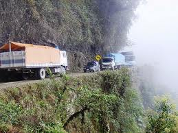 north yungas road between bolivia and peru known as death road