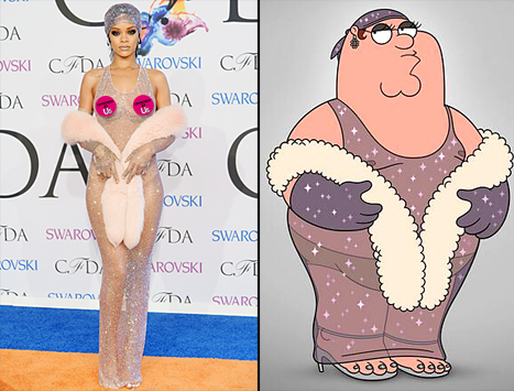 After Rihanna stunned at the CFDA Awards with her sheer dress, TBS tweeted a photo of Peter Griffin wearing the same outfit -- see the hilarious side-by-side! Credit: Dimitrios Kambouris/Getty; Courtesy of TBS  Read more: http://www.usmagazine.com/celebrity-news/news/rihannas-cfda-awards-sheer-dress-copied-by-family-guys-peter-griffin-201446#ixzz33tF7edOZ  Follow us: @usweekly on Twitter | usweekly on Facebook