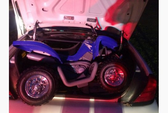 This Sunday, Aug. 3, 2014 photo provided by the Westchester County police in White Plains, N.Y. shows the toy ATV used by a 6-year-old boy to drive onto the Bronx River Parkway.