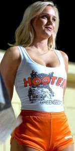 Hooters Calendar Girl Melissa Poe in 2004.[16] Hooters Calendar Girl Melissa Poe gives one of the Top Ten Things you will never hear a Hooters Girl say. Poe was part of the Operation Let Freedom Wing tour that arrived in Kandahar Airfield, Afghanistan