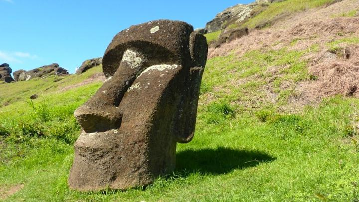 MAGE: MONOLITHIC HUMAN FIGURES CALLED MOAI WERE CARVED FROM ROCK BETWEEN 1250 AND 1500 BY THE INHABITANTS OF EASTER ISLAND, WHICH LIES MORE THAN 2,000 MILES OFF THE COAST OF CHILE.... view more   CREDIT: UCSB