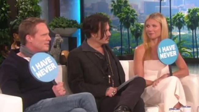 Johnny Depp, Gwyneth Paltrow, And Paul Bettany Play 'Never Have I Ever' On 'Ellen'