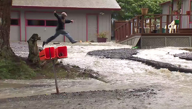 BRINNON, Wash. - Dozens of homes were engulfed by floodwaters Friday in the small town of Brinnon after extremely heavy rain overnight in rural Jefferson County forced the Duckabush River over its banks near Hood Cana.