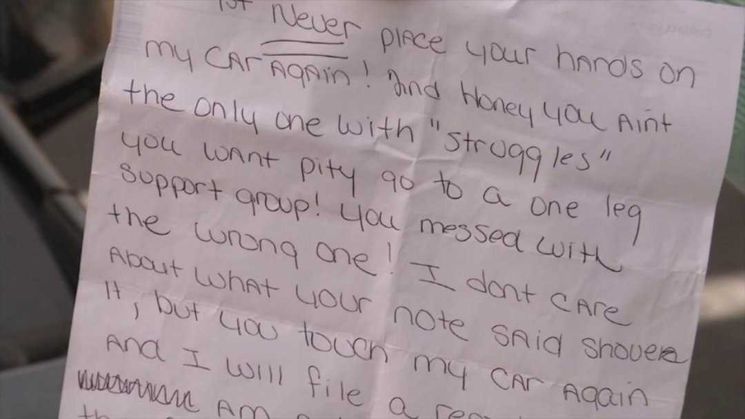 Ashley Brady Miamisburg:  Woman With One leg Woman Gets Nasty Note