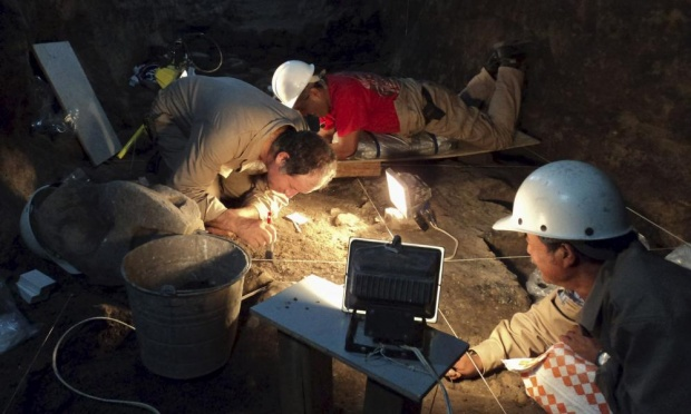 Archaeologists work at a tunnel that may lead to royal tombs at the ancient city of Teotihuacan, in this May 2011 photo. Photograph: Handout/Reuters