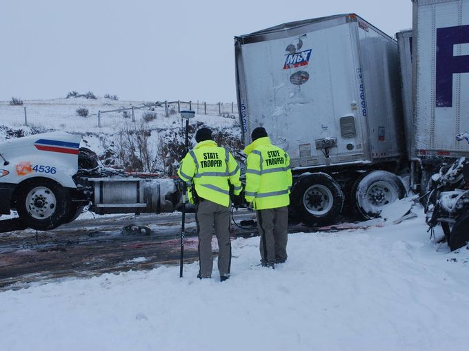 peeds too fast for blizzard conditions and loss of control are being blamed for the three separate pileups between Cheyenne and Laramie that injured 22 people. (Photo: Wyoming Highway Patrol)
