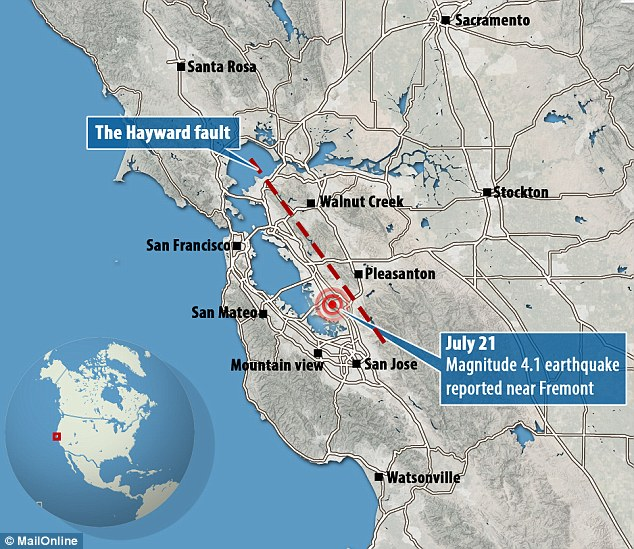 The geological fault that caused the 4.1 magnitude earthquake in Fremont, California on Tuesday morning is due another 'major earthquake' as it is currently at the end of its 140 year cycle