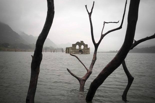 Church in reservoir