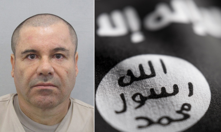 A general view of ISIS flag with shallow depth of field. El Chapo ISIS