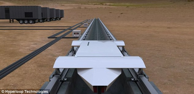 Hyperloop Technologies and the Nevada governor's office have selected a 50-acre facility at a fledgling North Las Vegas business park to test their system. Here, engineers will trial a linear electric motor at speeds of about 335 mph — about half the speed envisioned in a full-scale system. Pictured is an artist's impression radical-transport-tested-Nevada-year.html#ixzz3tv78WfzX Follow us: @MailOnline on Twitter | DailyMail on Facebook
